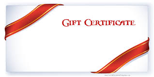 white background with words gift certificate and 2 red bows