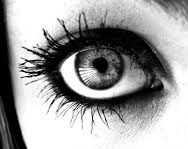 woman's eye in b&w